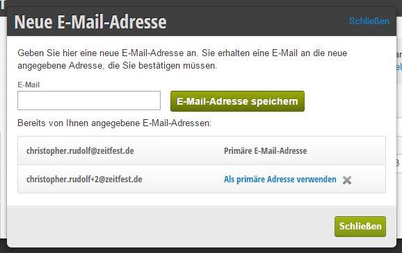 Zusätzliche E-Mail-Adressen